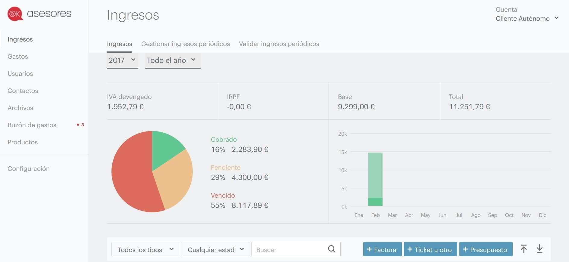 Cómo crear factura con el programa software de facturación OKasesores