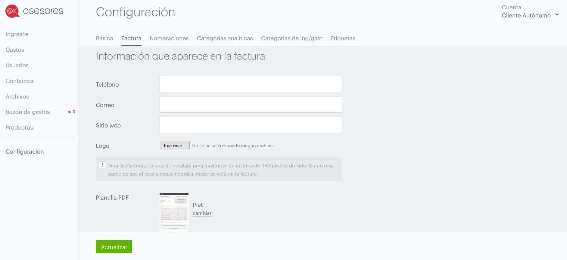 Configuración de la cuenta del software de facturación online OKasesores