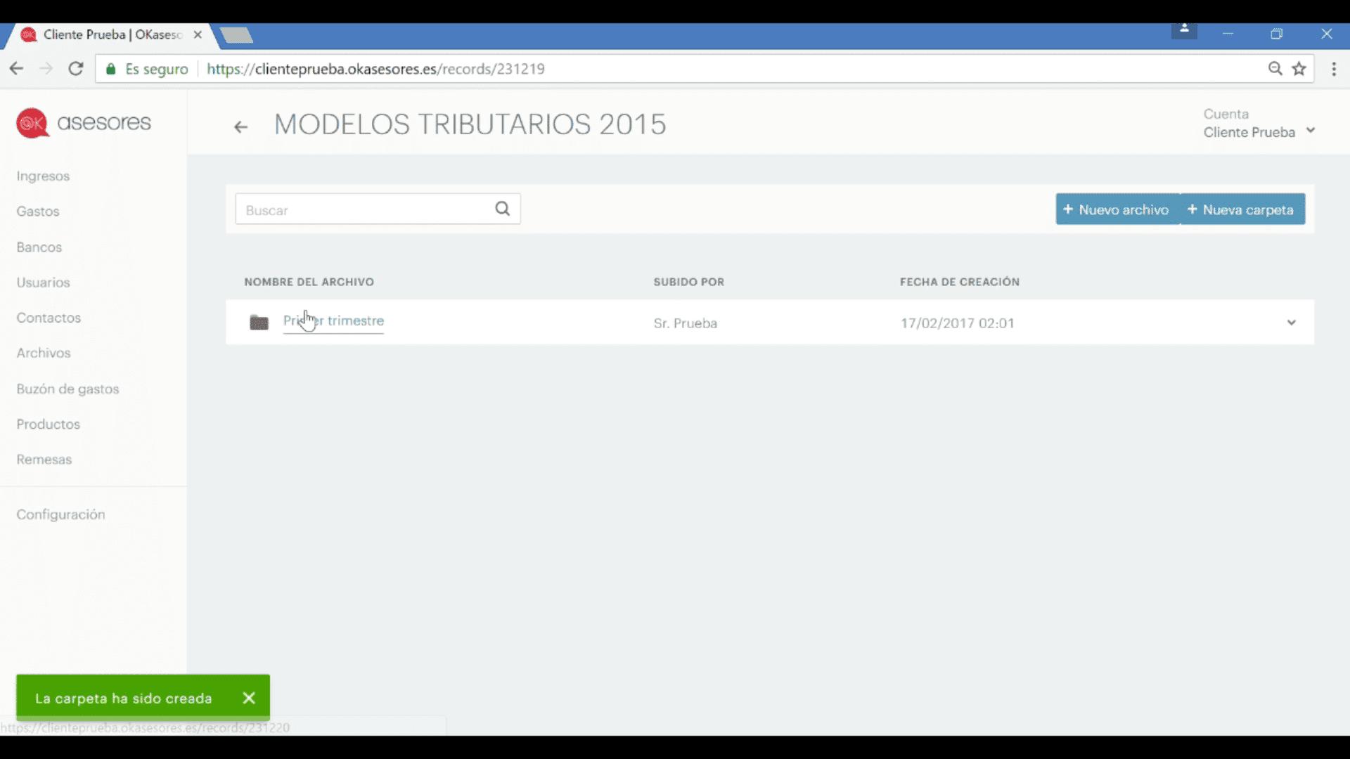 Gestión documental de archivos con programa de facturación online OKasesores