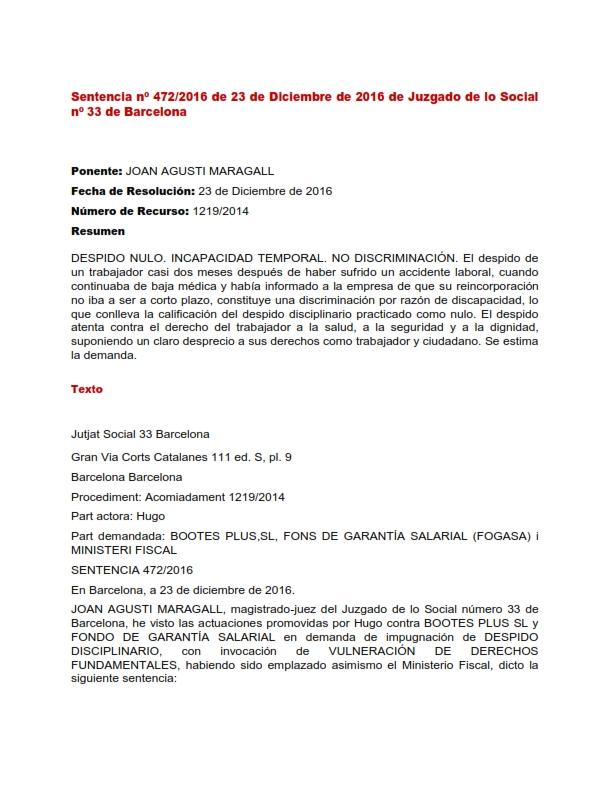 Sentencia nº 4722016 baja laboral despido nulo Okasesores